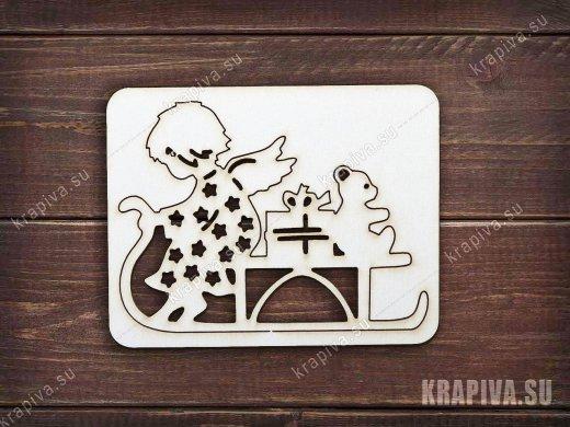 Чипборд Ангел на санках