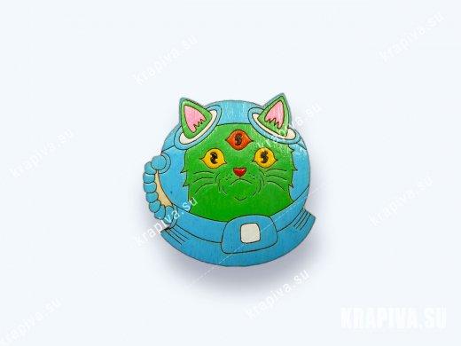 Брошь «Инопланетный кот» (значок)