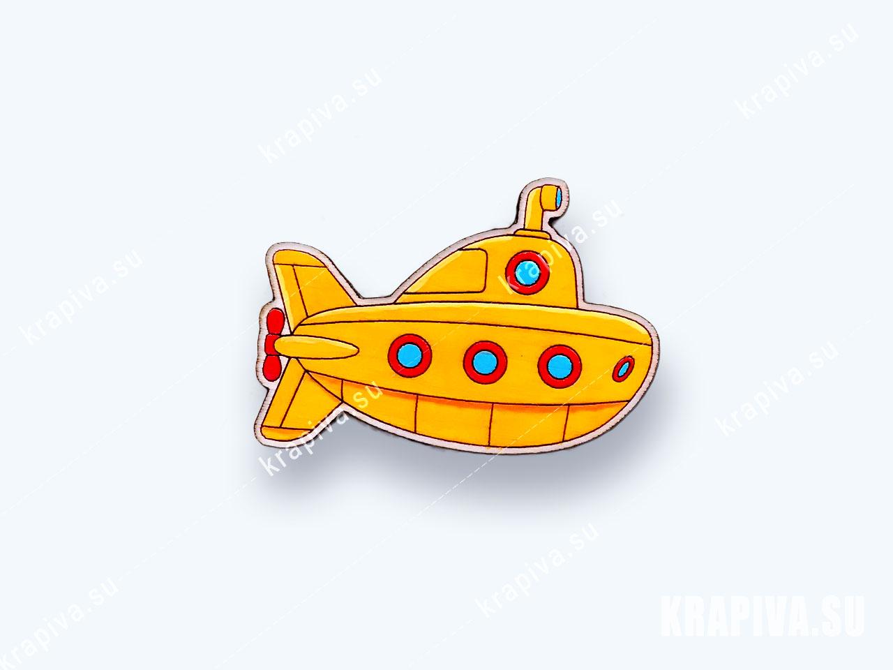 Деревянная брошь Подводная лодка №2  (фото-1)