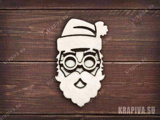 Санта в очках заготовка значка