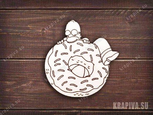 Гомер с пончиком заготовка значка