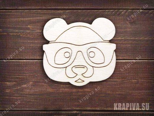 Панда в очках заготовка значка