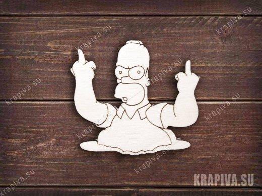 Гомер с факом заготовка значка