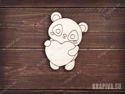 Панда с сердцем заготовка значка