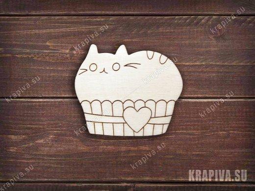 Кот в корзинке заготовка значка