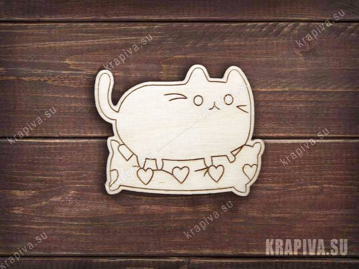 Кот на подушке заготовка значка