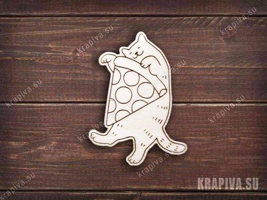Кот с пиццей заготовка для броши