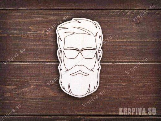 Бородач в очках заготовка значка