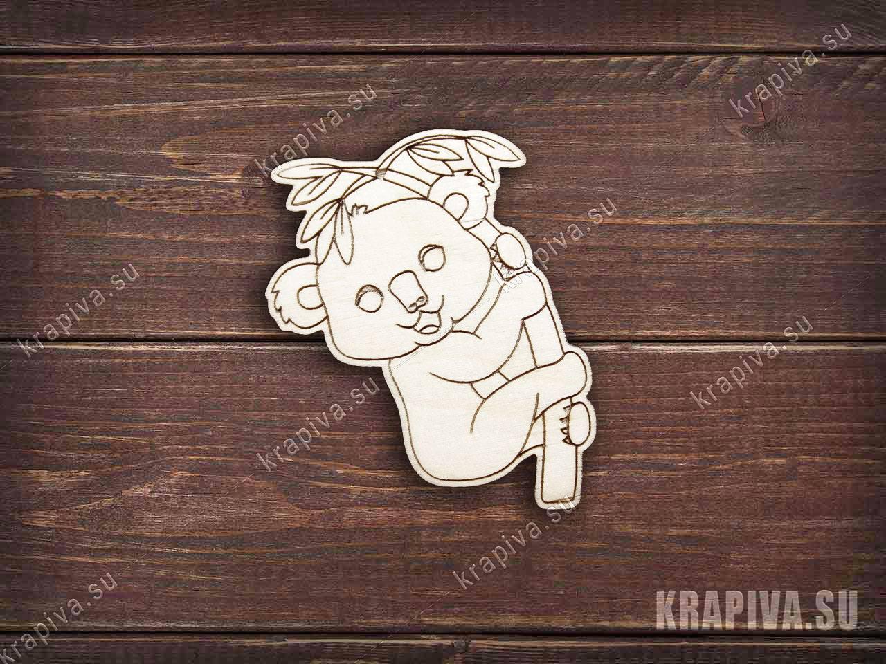 Коала на бамбуке заготовка значка за 35 руб. в магазине Крапива (krapiva.su) (фото)