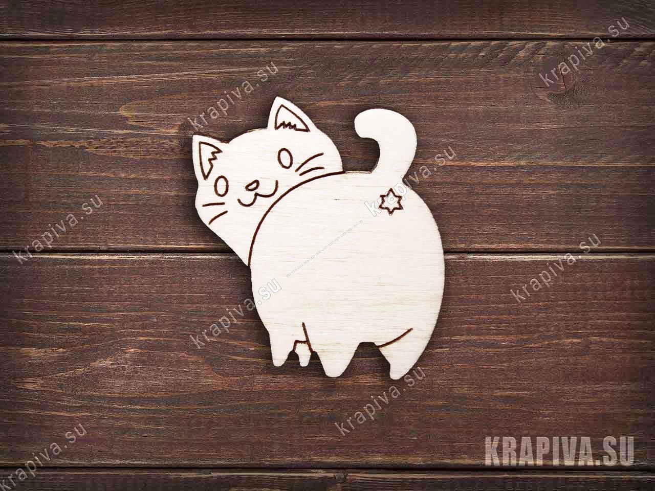 Заготовка деревянного значка Кот сзади №2 (krapiva.su)