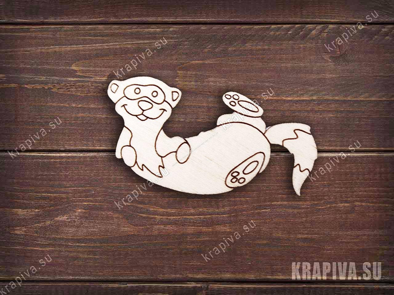 Заготовка деревянного значка Выдра №1 (krapiva.su)