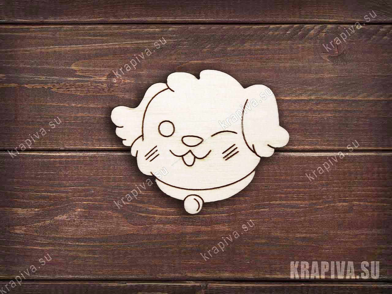 Заготовка деревянная Подмигивающая собака для значка (krapiva.su)