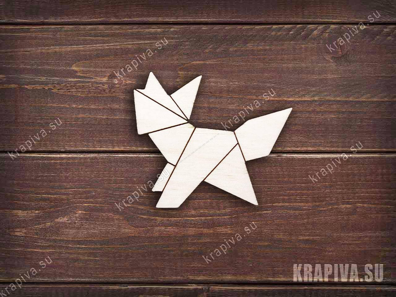 Заготовка значка Геометрическая лиса №7 из дерева (krapiva.su)