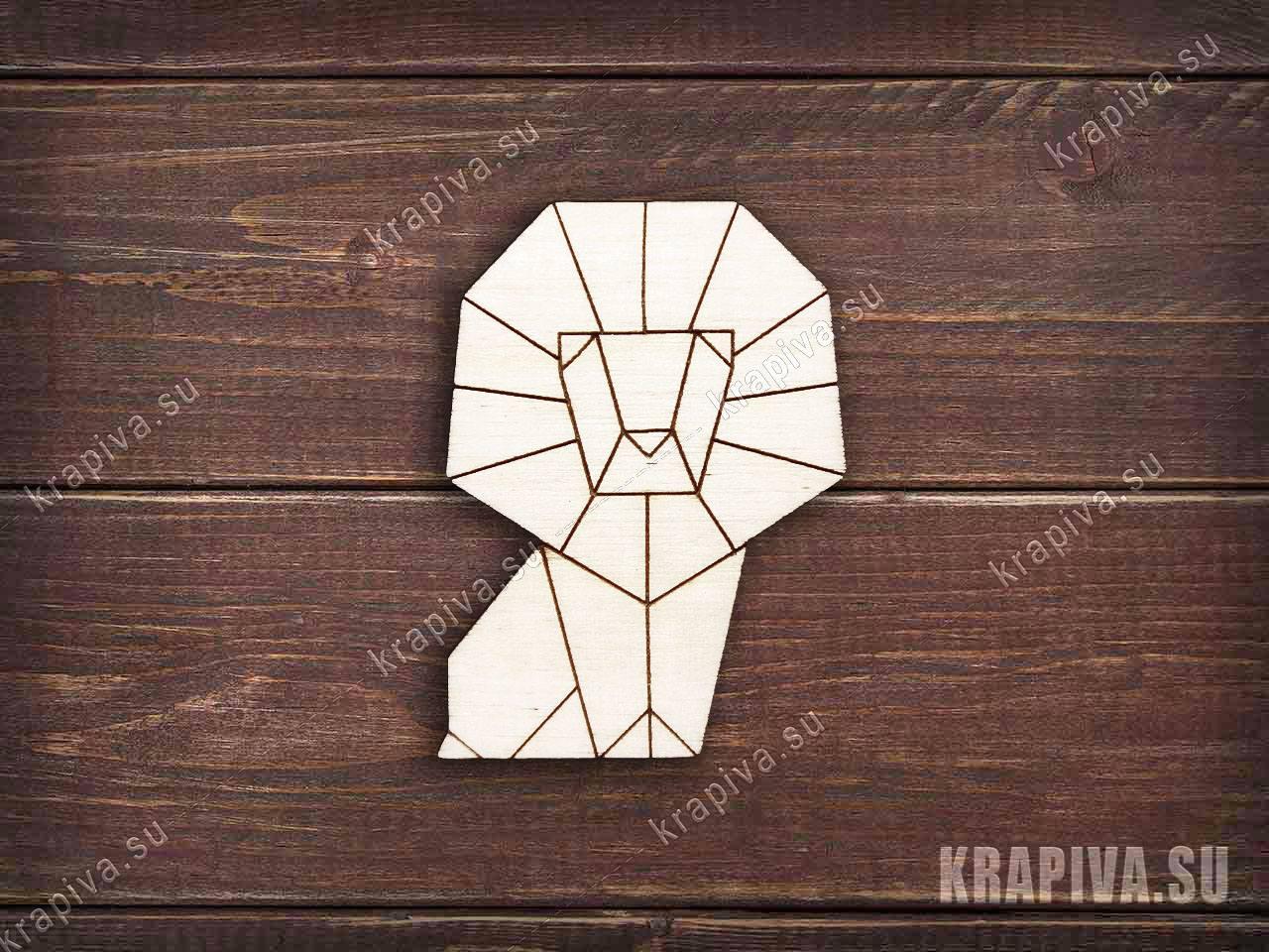 Геометрический лев №2 заготовка деревянного значка (krapiva.su)