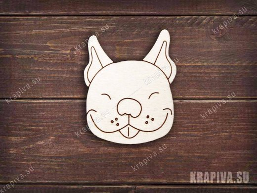 Деревянная заготовка значка Веселая собака
