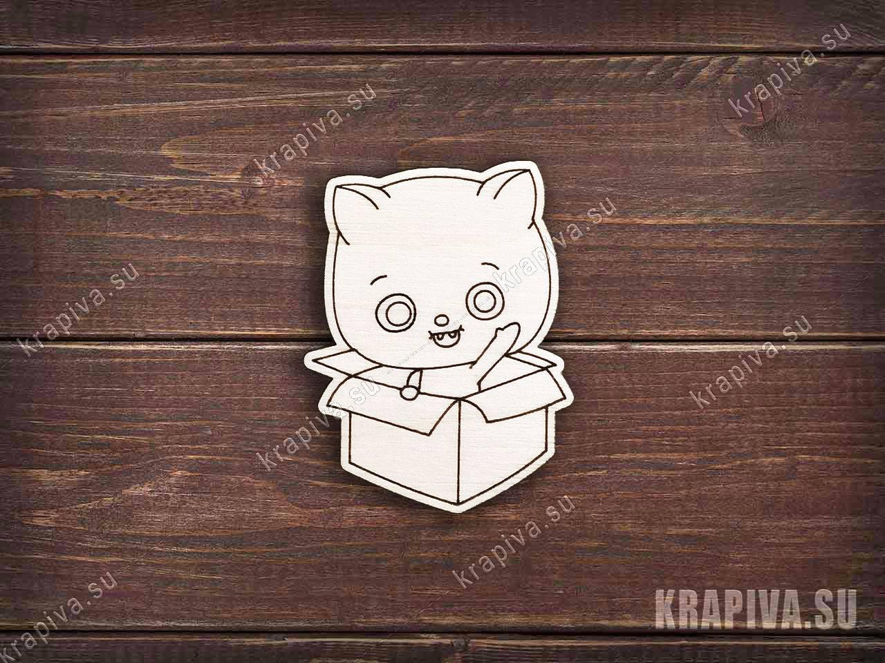 Заготовка под значок Котенок в коробке zag-zn-cat-box-3 ...